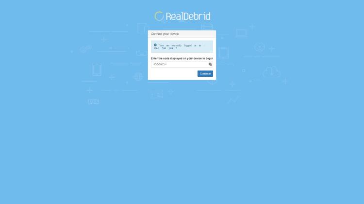 Real-Debrid authenticatiescherm