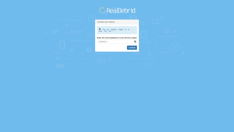Real-Debrid authentication screen