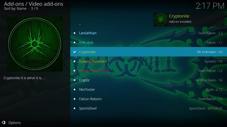 Cryptonite Addon interface