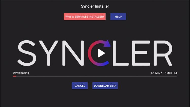 syncler apk zal beginnen te downloaden