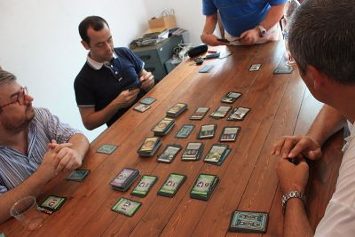 playing Dominion card game