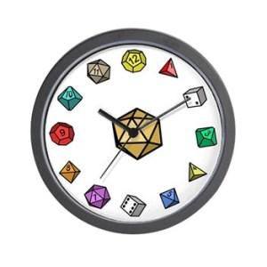 rpg dice wall clock