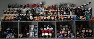 A collection of out of box Funko Pop figurines and bobbleheads
