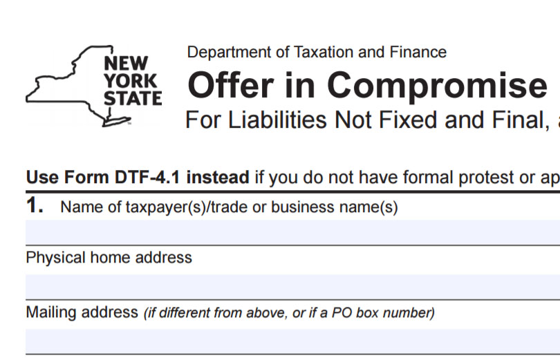How To Fill Out Nys Form Dtf 4 For Nys Offer In Compromise