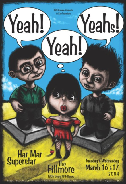 The Yeah, Yeah Yeahs at the Fillmore poster by John Mavroudis