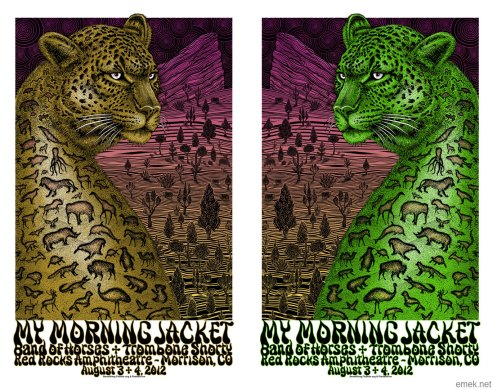 My Morn­ing Jacket at Red Rocks poster by EMEK, 2012