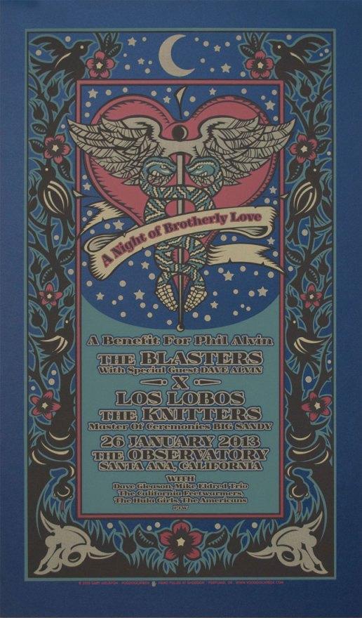 Phil Alvin benefit silkscreen poster by Gary Houston