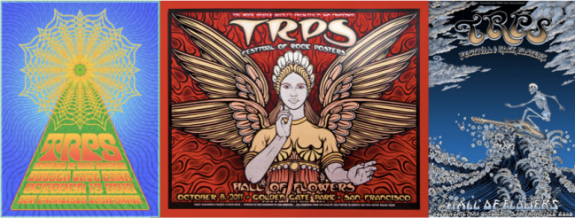 A selection of poster printed to benefit the Artist Relief Trust. From left to right, Dave Hunter, 2012; Alexandra Fischer and Chris Shaw, 2011; Emek, 2008.