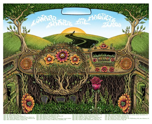 Edward Sharpe & The Magnetic Zeroes Fall Tour 2012 poster by EMEK