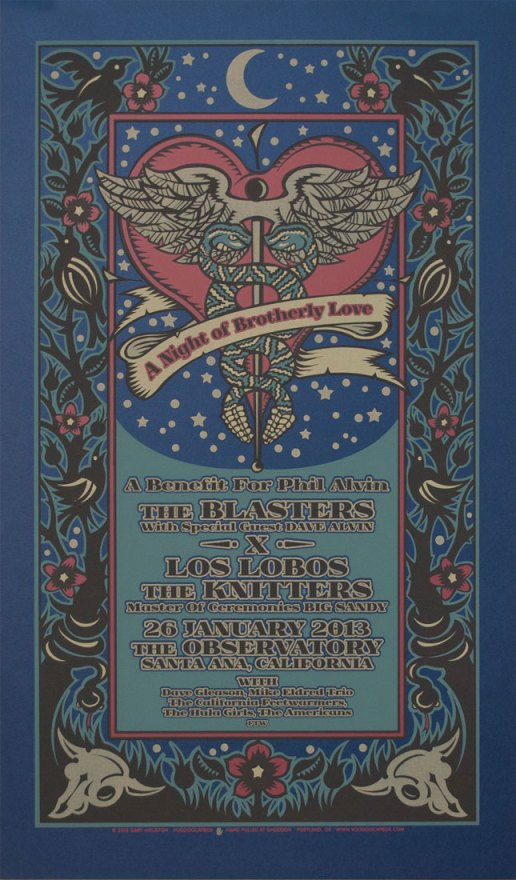 Phil Alvin benefit silkscreen poster by Gary Houston