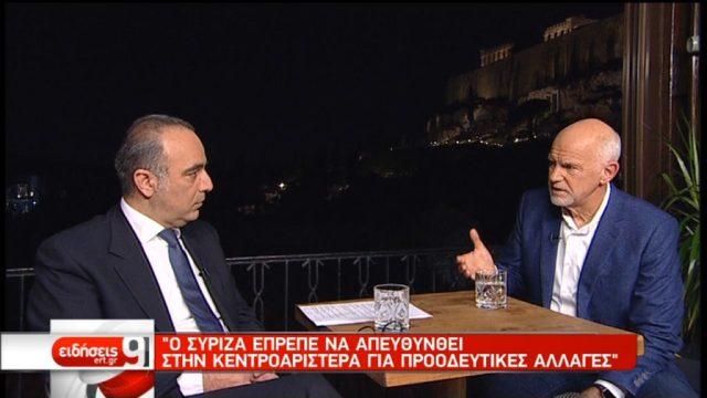 Γ. Παπανδρέου στην ΕΡΤ: Ο ΣΥΡΙΖΑ έπρεπε να απευθυνθεί στην Κεντροαριστερά για προοδευτικές αλλαγές (video)