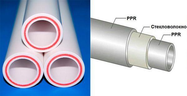 Фото – полипропиленовые водопроводы для отопления, армированные стекловолокном