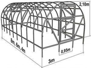 Фото: чертеж арочной металлической теплички
