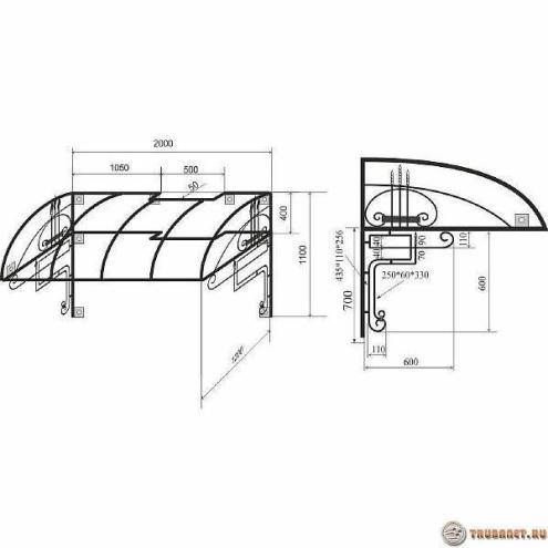 Фото: схема навеса поликарбоната