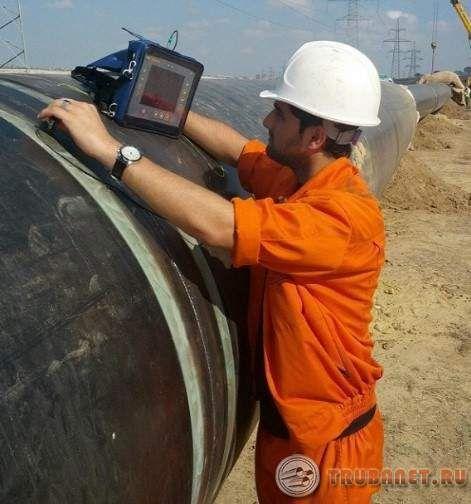 Фото: Импульсный эхо-метод контроля швов трубопровода