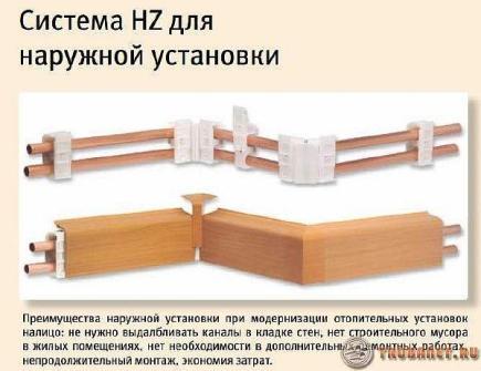 Фото: плинтусовые профили hz для скрытия трубопрокатов в частном доме