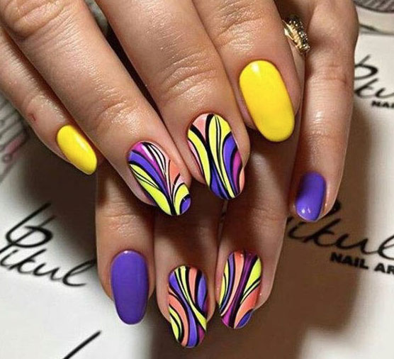 Nail Art Estate 2017 Giallo E Viola