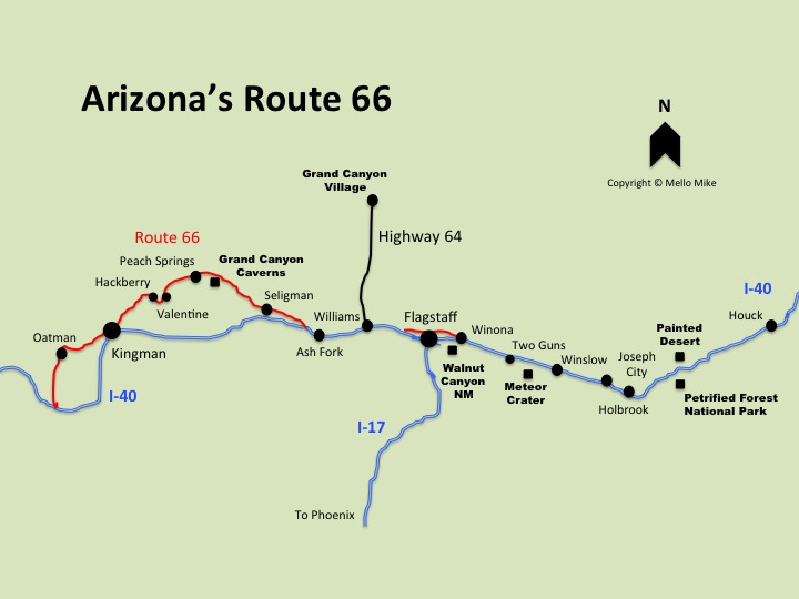 Map of Route 66 in Arizona - Truck Camper Adventure