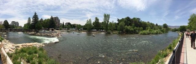 Panorama of Truckee River Whitewater and Wingfield Parks in Downtown Reno