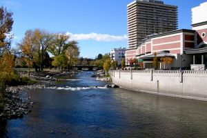 Truckee River floodwalls upstream of Sierra Street Bridge