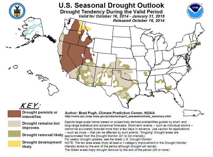 Drought forecast through end of January 2015