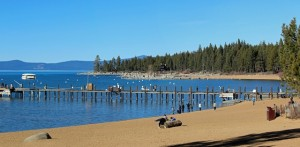 "Lake Tahoe at Zephyr Cove Pier. Tahoe's water elevation on January 20 stands 7"" below its rim so no water can flow into the Truckee River from the Lake."