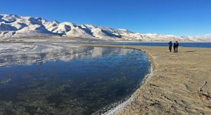 An icy Truckee River flows into Pyramid Lake on New Years Day 2015.  Pyramid Lake levels have fallen dramatically since 2000.