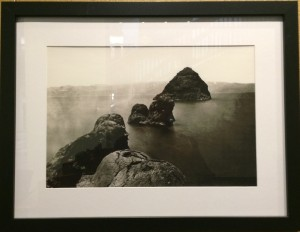 Reflections on Pyramid Lake Exhibit at UNR Knowledge Center: Tim O'Sullivan photo of Pyramid Lake's Pyramid in 1867