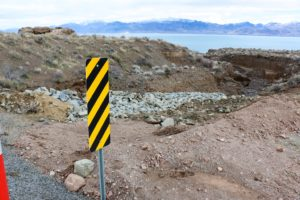 "Damage at a ""dry"" stream crossing on SR 445 just north of Pelican Beach at Pyramid Lake"