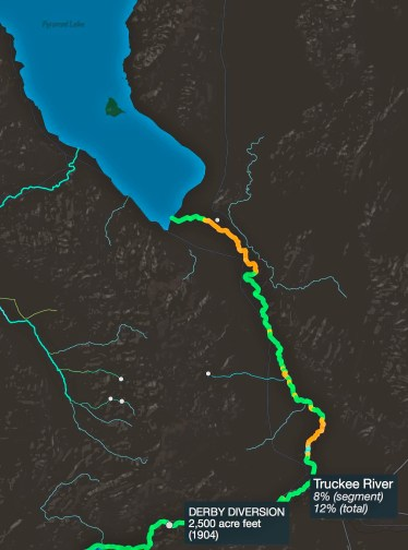 Disappearing Rivers: screen capture of river tool's depiction of flow restriction of the Truckee River below Derby Dam is incorrect.
