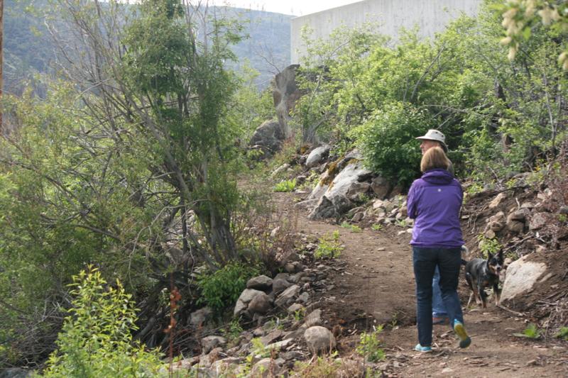 Hiking on the Tahoe-Pyramid Bikeway near Farad, CA. May 18, 2015.