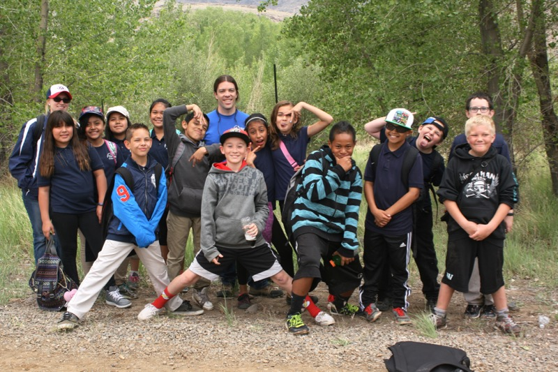 Sean Hill (Sierra Nevada Journeys) and group from Mrs. Bunch's class at McCarran Ranch, May 21, 2015.
