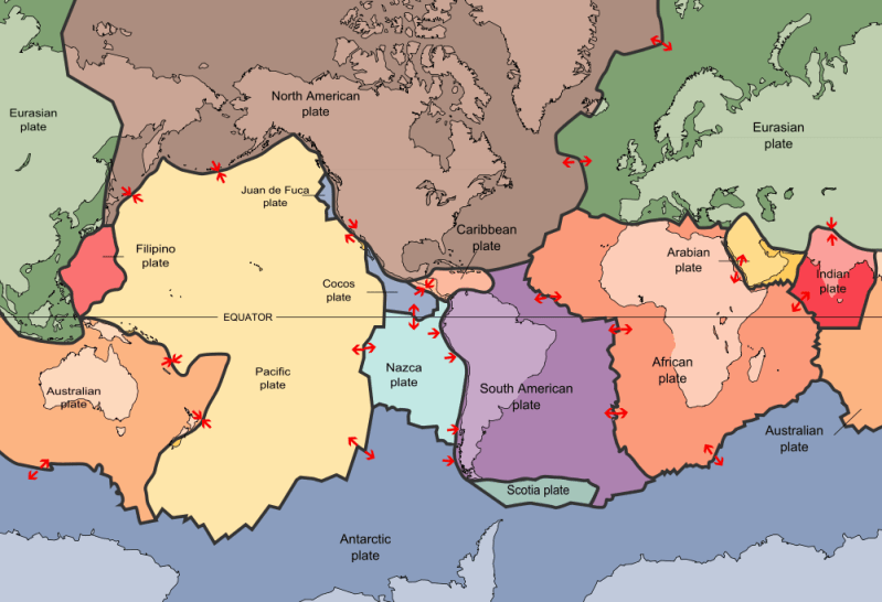 Map of tectonic plates. Public domain image from USGS/Wikimedia