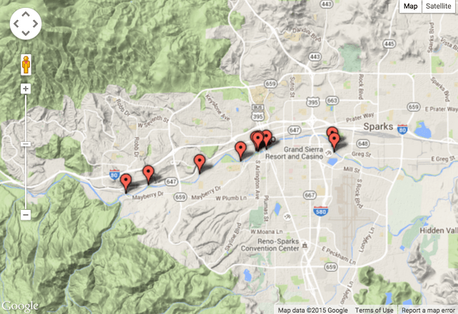 Mink sightings, Jan - June 2015. Truckee River Guide.