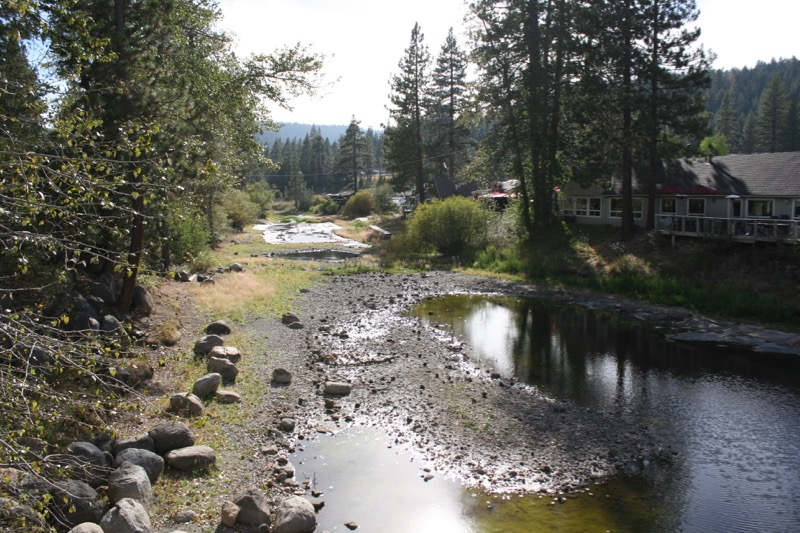 Just below the Tahoe Dam and Fanny Bridge, all that remains is puddles. Aug 23, 2015.