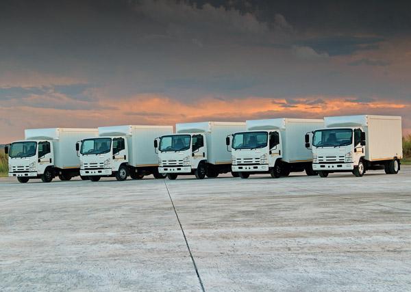 Isuzu N-Series trucks on display