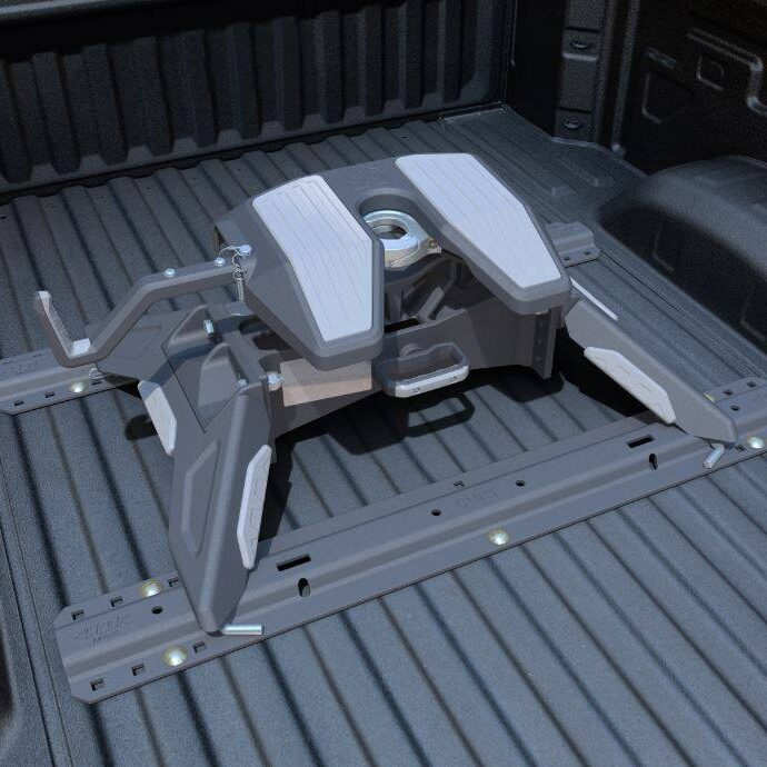 Hardware item screwed to bed of truck