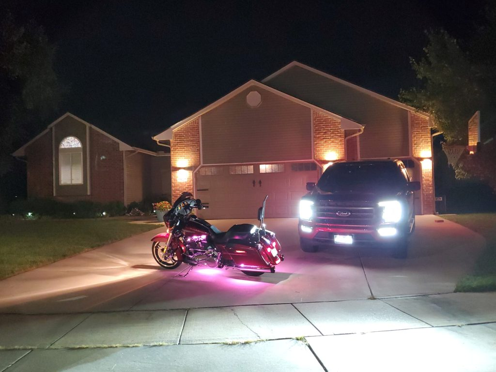 Thank you TruckStuff for my XKGlow Harley Lights, Harley Air Horn and Front Glowlogo personalized for my 2021 F150, along with EGR InChannel Window Visors, EGR Bug Shield and plenty of dog accessories for my backseat for protection against my dogs. YOU GUYS FREAKING ROCK...!!!