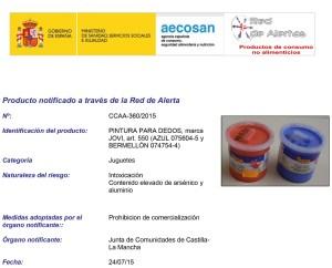 ALERTA DE CONSUMO: PINTURA DE DEDOS MARCA JOVI COLORES AZUL Y BERMELLÓN  Foto de %title