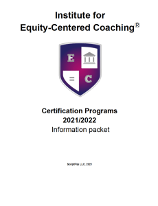 Cover of the Certification Info Packet for the year 2021/2022 with purple, pink, and white shield logo