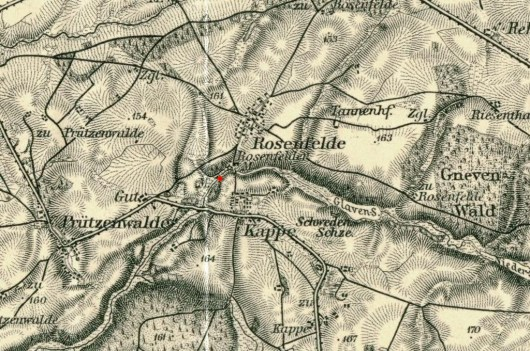 Our Mill (red dot) on the map of the early twentieth century.