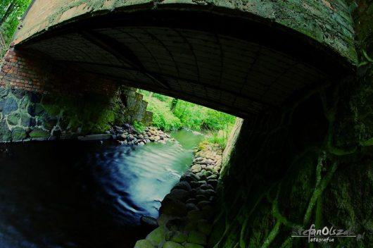 Debrzynka flowing under the ramp of the mill.