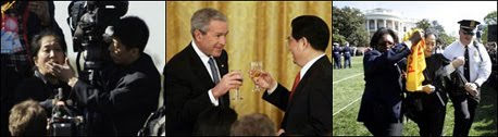 Bush and Hu Celebrate Their Similarities