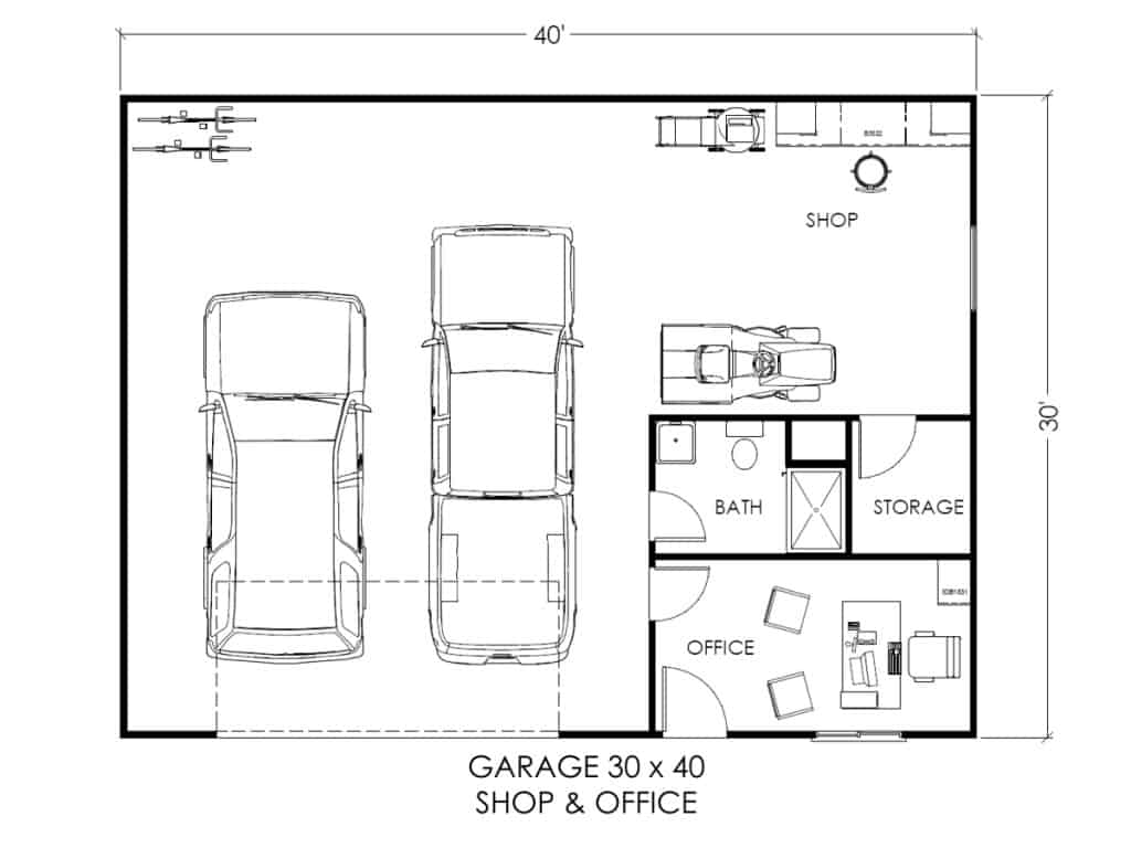 Garage W Office And Workspace