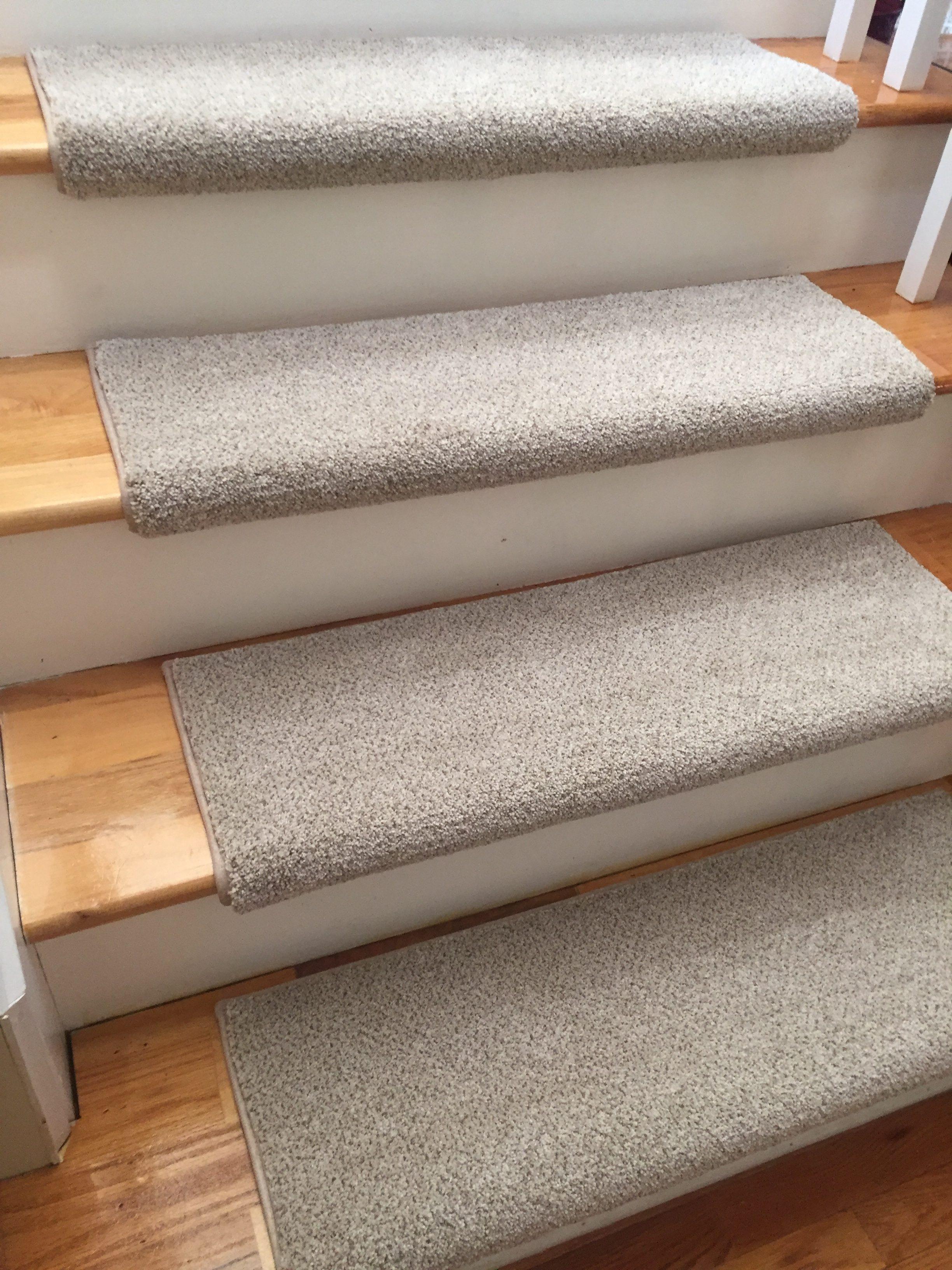 Montauk Linen Short Shag True Bullnose™ Padded Carpet Stair Tread (Sold  Each)