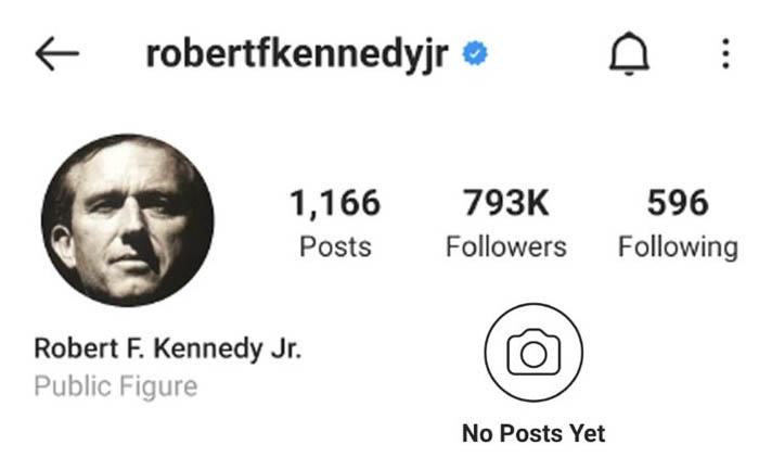 Robert Kennedy Jr Instagram deplatformed