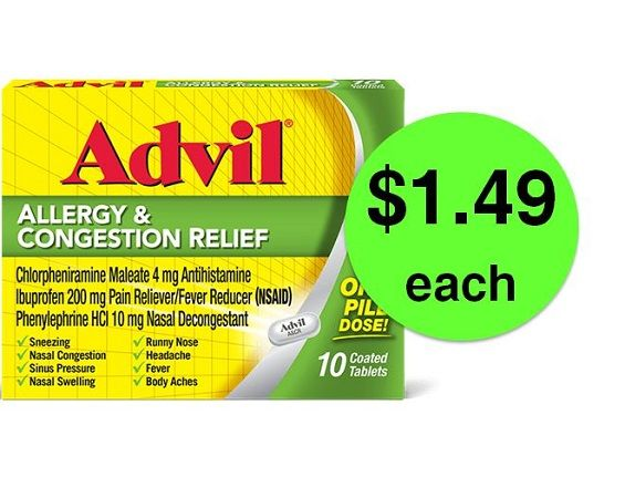 Allergy Buster! Pick Up $1.49 Advil Allergy & Congestion Relief at ...