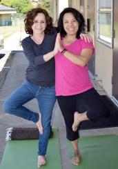 Me & Connie holding each other up to do a tree pose