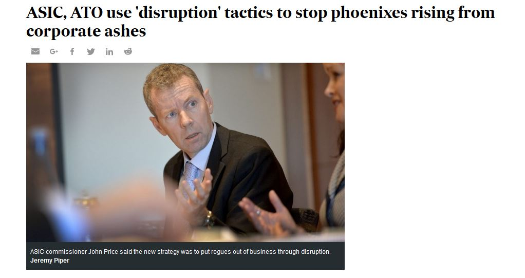ASIC to disrupt Phoenix Scams