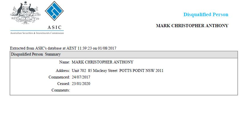 Disqualified Person Mark Anthony